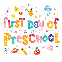 first day of preschool unique lettering kids design