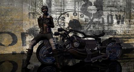 Female Biker Sitting On Motorcycle 3D Rendering