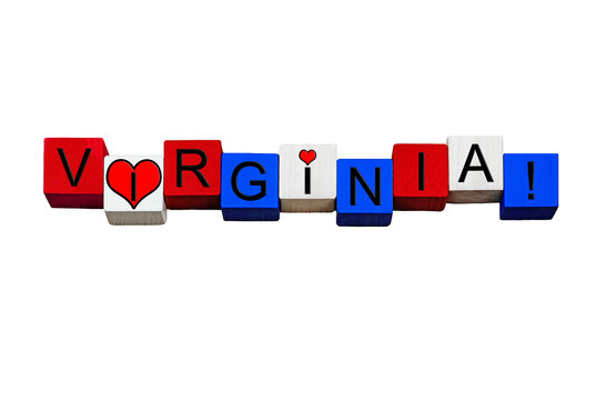 I Love Virginia, sign or banner design, America,  isolated.