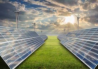 solar energy panels with wind turbine