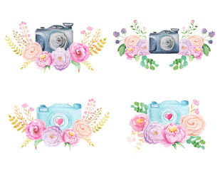 Watercolor camera and flowers