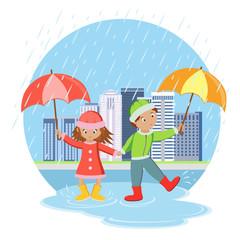 Children with umbrellas in the rain. Children on walk.  Vector illustration
