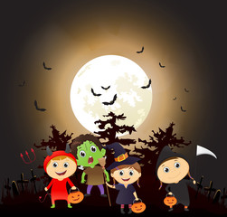 illustration of children trick or treating in Halloween costume