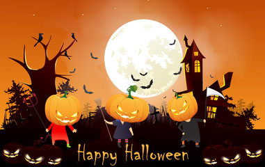 illustration of children at night halloween party