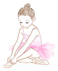 バレエのレッスンをする子供