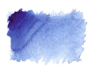 Dark blue to light blue gradient painted in watercolor on clean white background