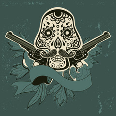 Hand drawn sugar skull with flowers and guns.