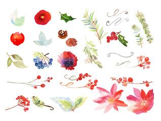 Set of watercolor Christmas elements.
