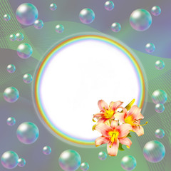 Round rainbow frame decorated with pink lilies and bubbles
