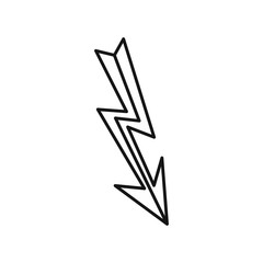 Lightning icon in outline style on a white background
