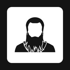 Man with beard avatar icon in simple style isolated on white background. People symbol
