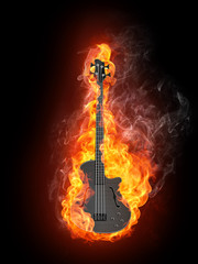 Foto op Aluminium Vlam Electric Bass Guitar