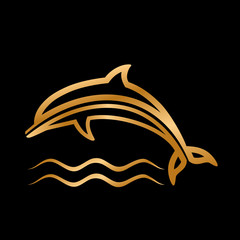 styled golden dolphin with waves