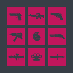 weapons icons set, pistol, guns, rifle, revolver, shotgun, grenade, knife, rocket launcher, firearm, vector illustration