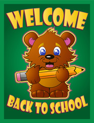 welcome to school teddy bear on a green background vector