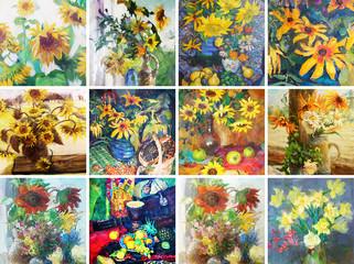 drawing oil, flowers, Wildflowers, Sunflowers, 12 in 1