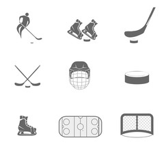 hockey icons. The game of hockey. Minimalism. Sport icon. Vector