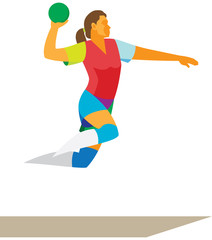 Woman is handball player in attack