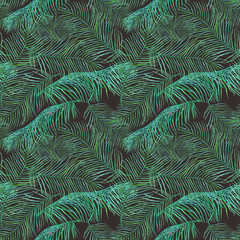 Watercolor palm leaves saemless pattern on dark background.