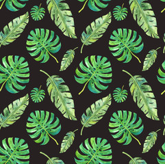 Watercolor  tropical leaves saemless pattern on dark background.