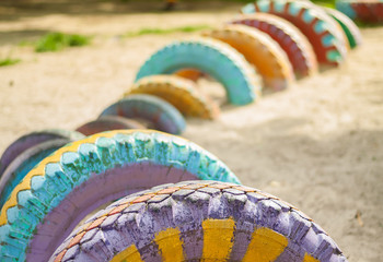 Painted tires on the playground