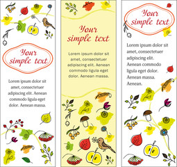 Set autumn banners. vertical orientation. colored hand-drawn banners