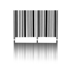 Barcode with the reflected shade isolated on white