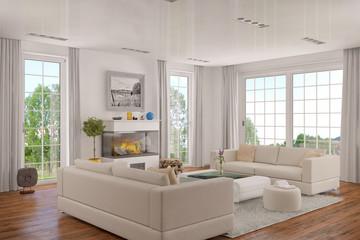 Modern eingerichtetes Wohnzimmer, mit einem Kamin