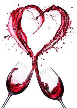 Romantic Toast Of Wine Red In Splashing In A Heart Shape