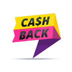 Trendy colorful cash back advertisement banner. Modern vector ma