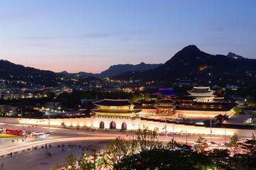 Seoul, South Korea: Gyeongbokgung Palace at night.