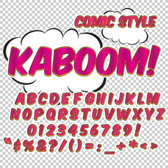 Creative high detail comic font. Alphabet in the style of comics. Letters and figures for decoration of kids