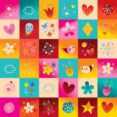 flowers hearts little smiling characters symbols design elements