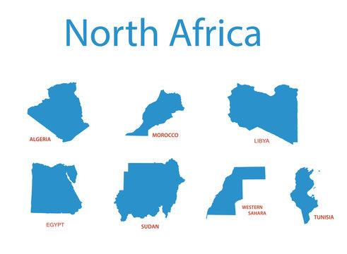 north africa - vector maps of territories