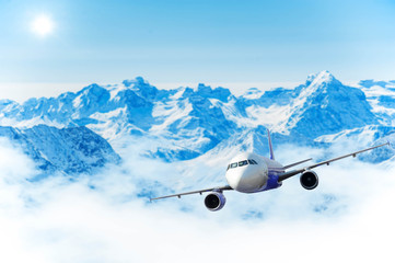 Airplane with background of Matterhorn snow mountain, exploratio