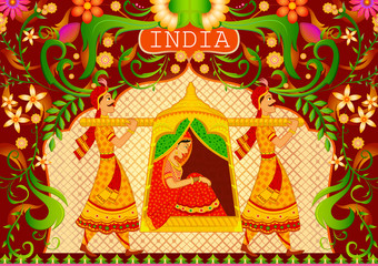 Floral background Lady in palanquin showing Incredible India