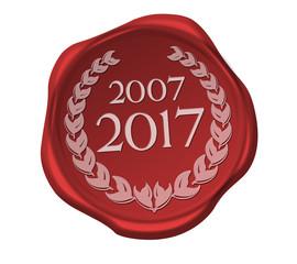 Siegel button zehnjähriges  jubiläum 2007 2017