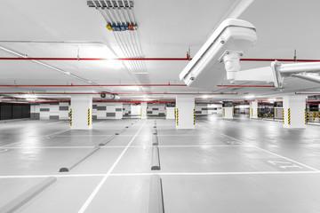 CCTV camera in underground parking garage