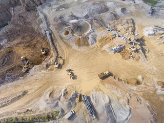 Mining quarry with special equipment, open pit excavation. Sand