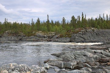 The Tuloma river in tundra above Arctic Circle, Russia