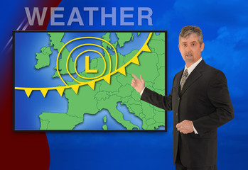 A tv television news weather meteorologist anchorman is reporting with a colorful European map and weather graphics on the monitor screen.