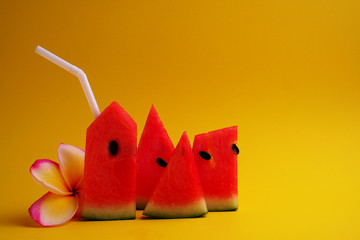 Watermelon sliced, drinking watermelon with white straw and flow