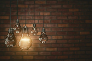 Innovation concept with light bulbs