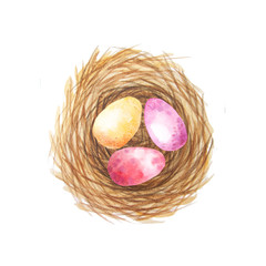 Set of colorful watercolor easter egg in the nest
