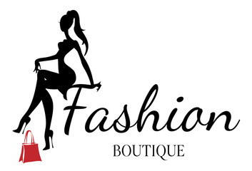 Fashion boutique logo with black and white woman silhouette vector Wall mural