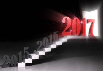New year 2017 ,3d rendering