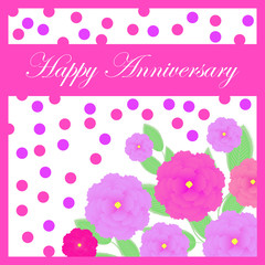 Anniversary illustration with pink roses and polka dot suitable for Anniversary invitation card