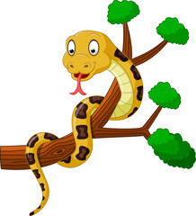 Cartoon brown snake on branch