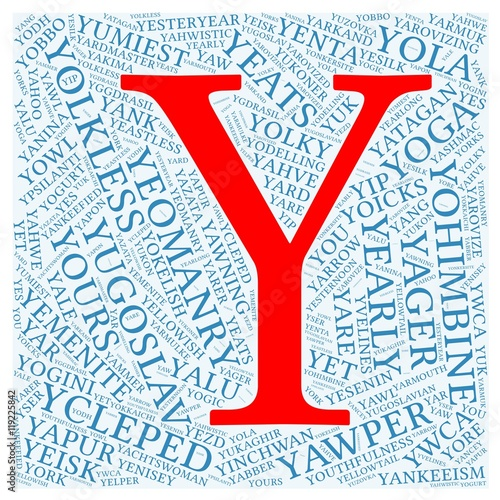 "letter ""y"" with 100 words word cloud starting with letter ""y"