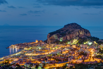 Cefalu at the north coast of Sicily at night
